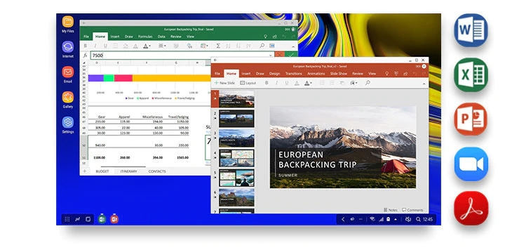 DeX interface with a Microsoft Excel spreadsheet and Microsoft PowerPoint presentation shown onscreen. Five icons show different productivity applications you can use in DeX mode: Microsoft Word, Microsoft Excel, Microsoft PowerPoint, Zoom Cloud Meetings, and Adobe Acrobat Reader.