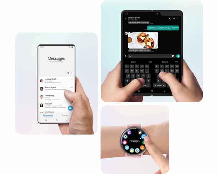 Three simulated images each show the unique interface of a Galaxy smartphone, the Galaxy Fold, and a Galaxy Watch. Messages on the smartphone are within comfortable reach of the user's thumb when held with one hand. The Galaxy Fold features a split keyboard for easy two-handed typing. And the circular menu of app icons on the Galaxy Watch is easy to navigate.