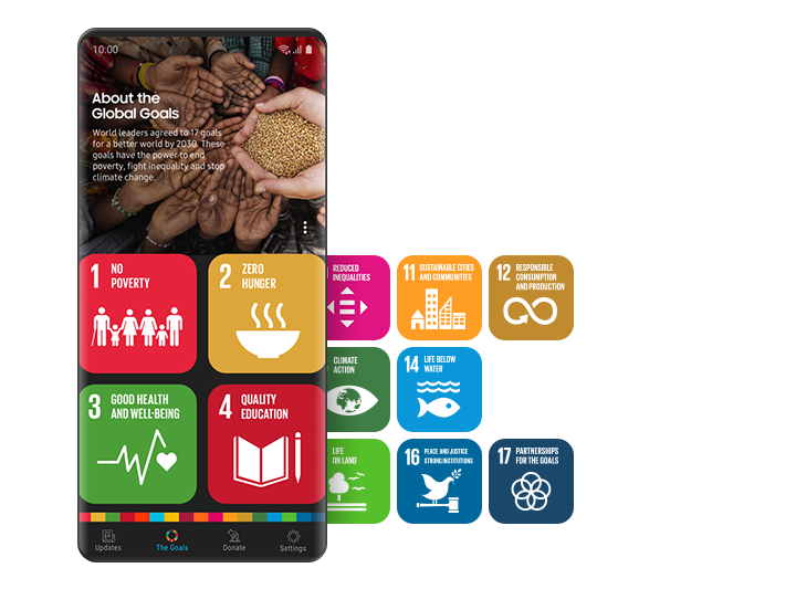 In the Samsung Global Goals home screen colorful tiles with conceptual symbols represent each of the 17 goals. The app provides users information about the sustainable development goals.