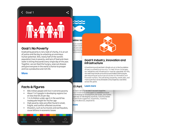 """In the Samsung Global Goals app, a sample goal card describes a goal's background and objective, and the following """"Facts & Figures"""" card provides relevant statistics about the current status of each challenge."""