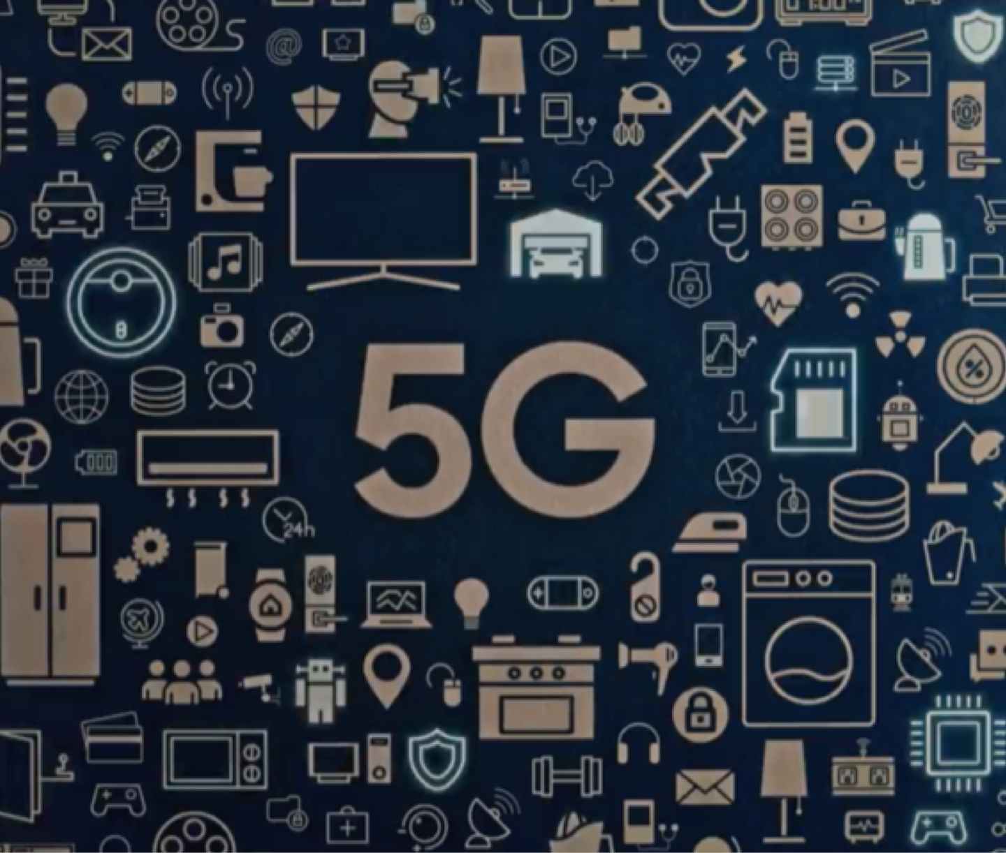 "A tightly-formed collage of icons of household items sit against a blue background. They surround the word ""5G"" which is in the center."