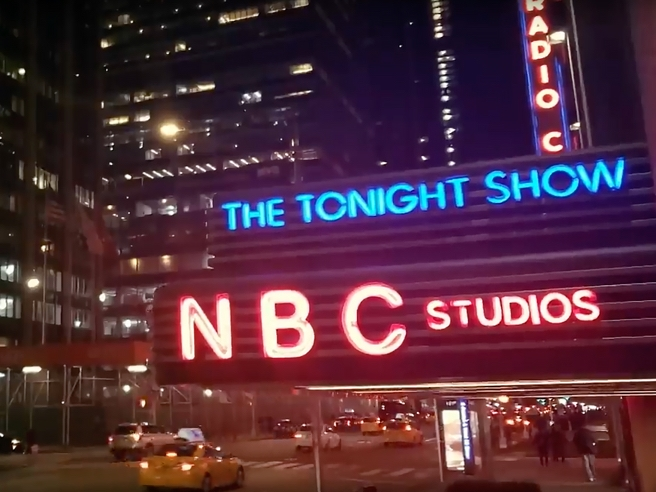 Red and blue neon marquee of NBC Studios/The Tonight Show at the GE Building in New York City