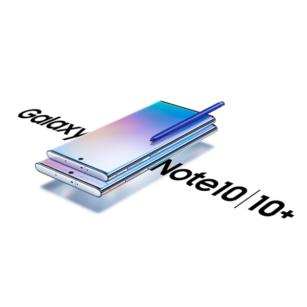 2 models of Galaxy Note10, Note10 plus with a blue S pen