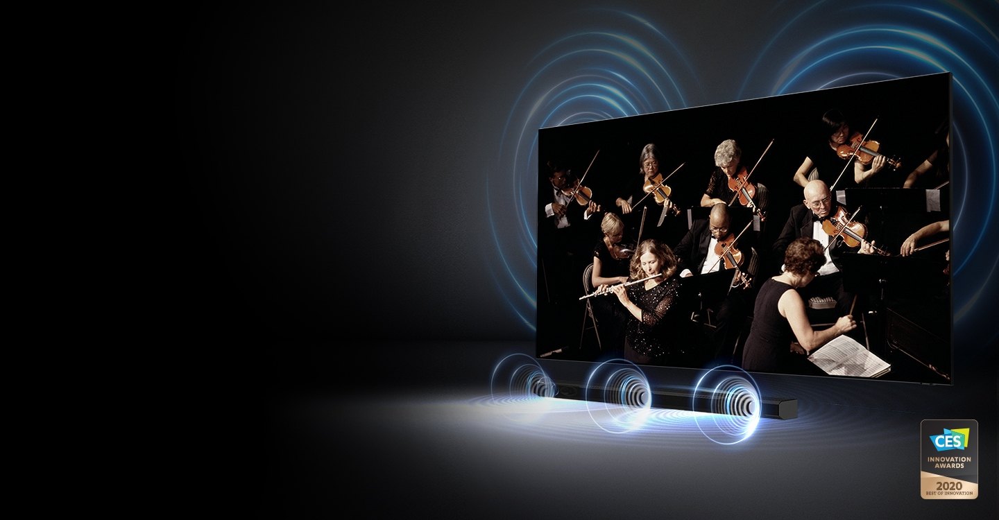 The TV screen shows an orchestra playing, illustrating the soundbar and TV orchestrated in perfect harmony.