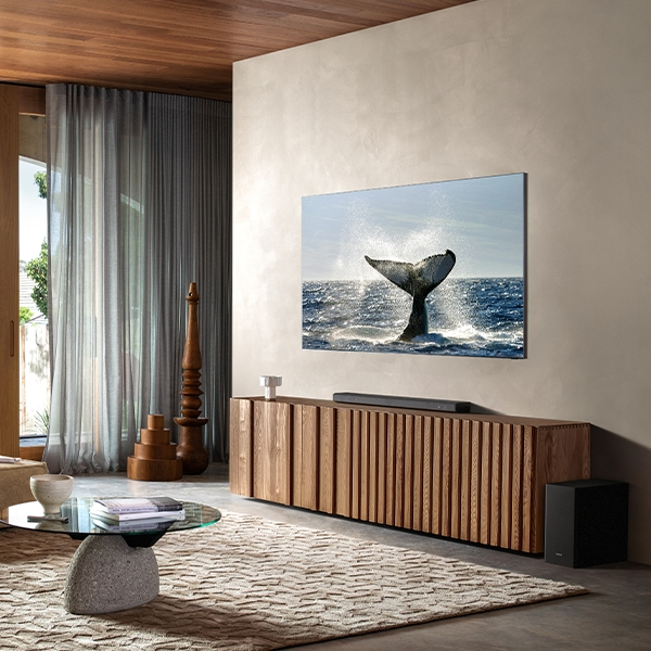 A flat screen TV displaying a swimming whale hangs flush to the wall in a living room with a soundbar placed underneath.