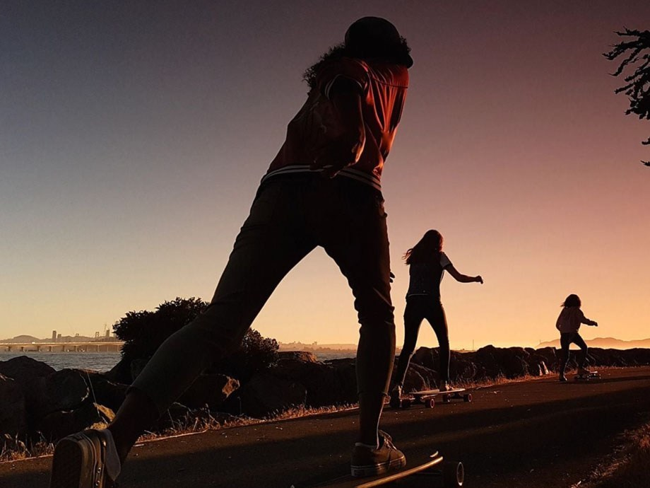 Skateboarders at sunset with the Galaxy S8
