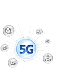 Web diagram that reflects the components of 5G technology: AR, 4K display and smart technology with 5G in the center