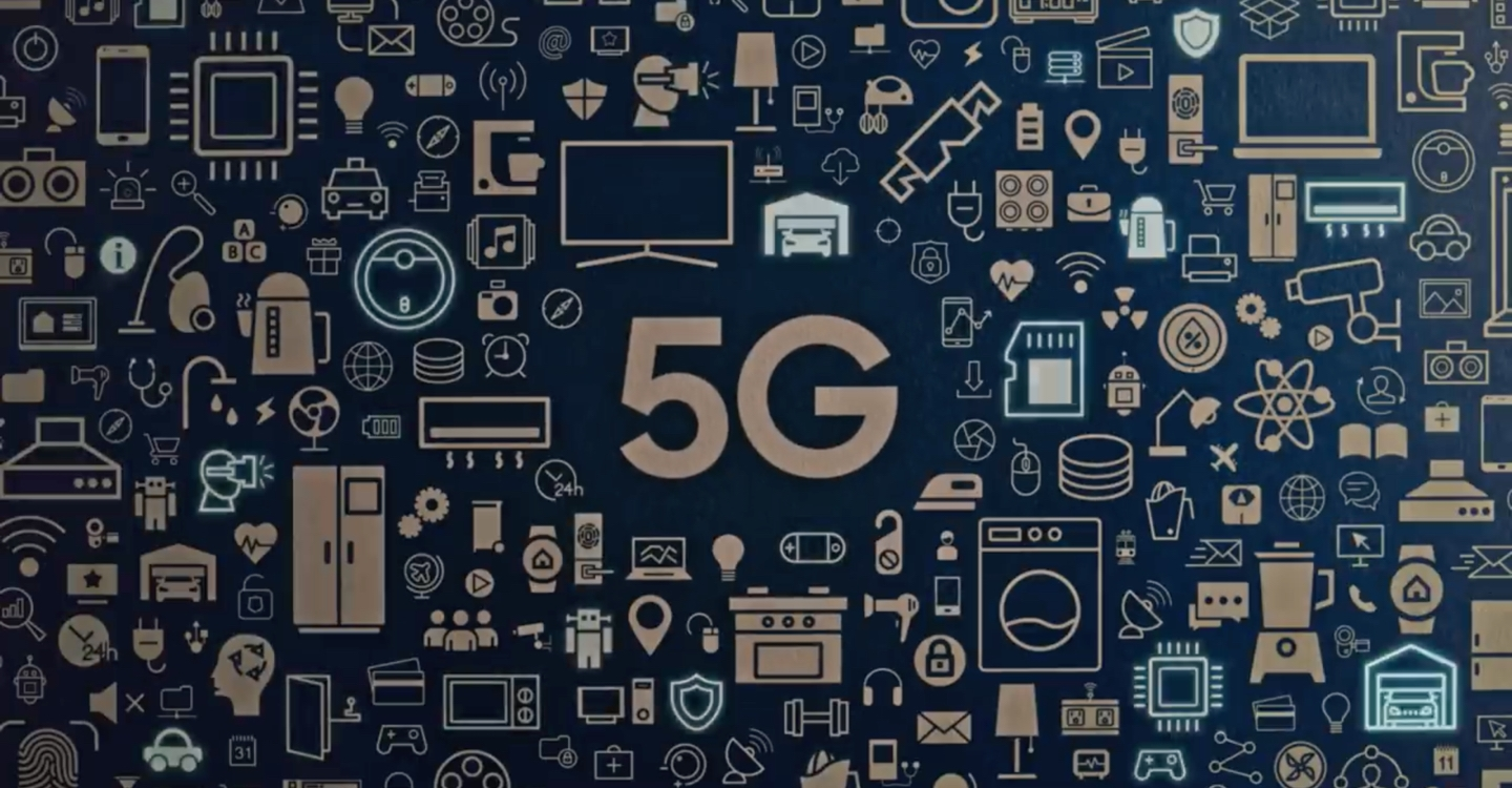 """A tightly-formed collage of icons of household items sit against a blue background. They surround the word """"5G"""" which is in the center."""