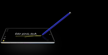 A blue  S Pen writing on what appears to be a black tablet