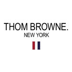 Thom Browne logo with his name in all caps, New York in all caps following his name and signature grosgrain ribbon below it