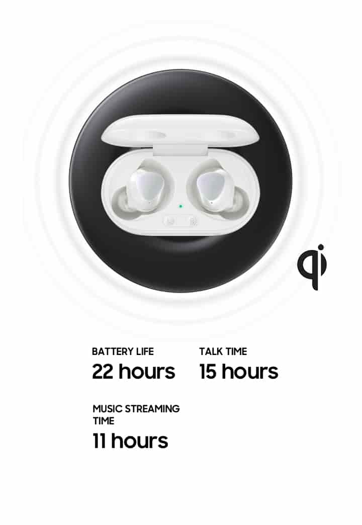 A birds-eye-view of the buds inside their charging case. The case is on top of a black circle that resembles a wireless charger.  On the left are three stats in text. 22 hour battery life. 15 hours of talk time. 11 hours of music streaming time.