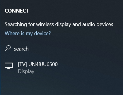 Connect window with a Samsung TV listed