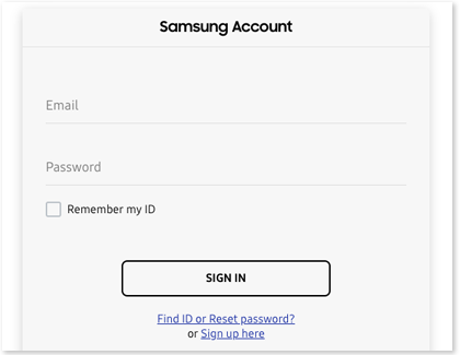 Samsung Account sign in screen with Sign up here options displayed
