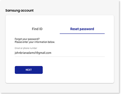 Samsung account screen with the Reset password tab highlighted