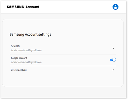 The Samsung account settings page on an internet browser