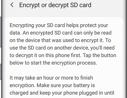 Encrypt SD card in Biometrics and security settings