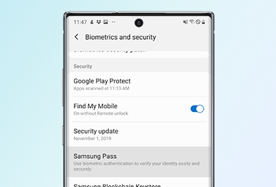 Biometrics and security menu screen on the Note10