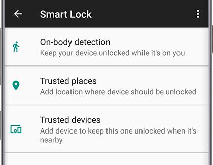 Smart lock options displayed on phone