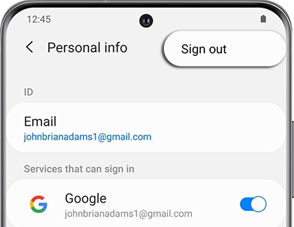 Sign out highlighted next to Personal info on a Galaxy phone