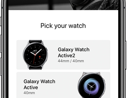 The Galaxy Watch app opened on an iPhone