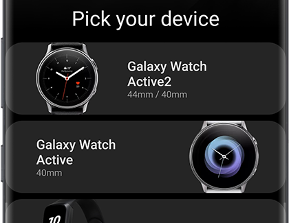 A list of Galaxy wearable devices that can connect to a phone