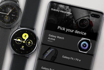 Galaxy Wearable app setup screen on phone with two Samsung smart watches - Connect watch to a phone