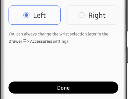 Left option selected with Done displayed on a Galaxy phone