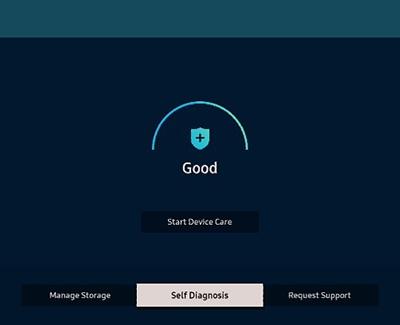 Self Diagnosis selected on a Samsung TV