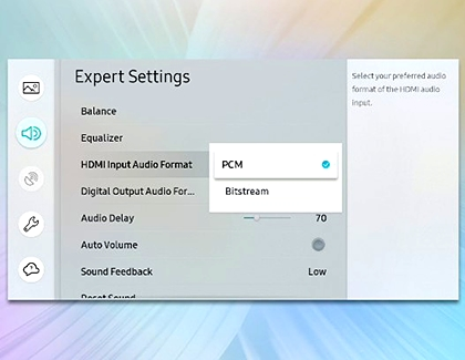 HDMI Input Audio Format selected with PCM highlighted