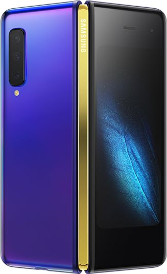 Rear-view Astro Blue Samsung Galaxy Fold (Gold Hinge) partially unfolded - rear  triple cameras & green graphic display