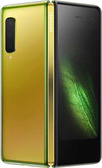 Rear-view Martian Green Samsung Galaxy Fold (Gold Hinge) partially unfolded - rear  triple cameras & green graphic display