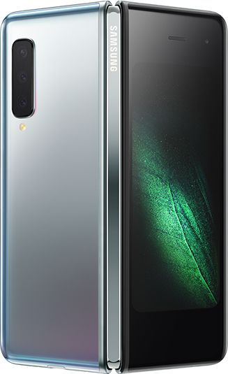 Rear-view Space Silver Samsung Galaxy Fold (Silver Hinge) partially unfolded - rear  triple cameras & green graphic display
