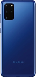 Galaxy S20 plus in Aura Blue seen from the rear