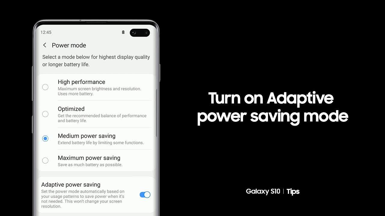 Turn on Adaptive power saving mode