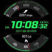 Activity Racer watch face in green