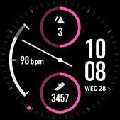 Dual-dial watch face in pink