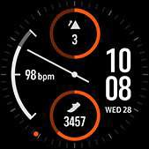 Dual-dial watch face in orange