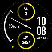 Dual-dial watch face in yellow
