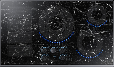 Cooktop simulated with excessive marks and scratches
