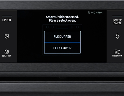 Example of Flex Duo oven control panel with smart divider inserted