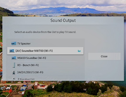 Sound Output with [AV] Soundbar NW700 (Wi-Fi) selected