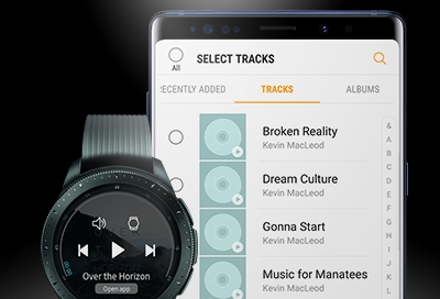 Select tracks on your phone to play on your watch