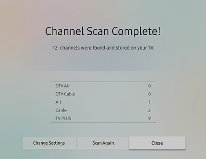 Channel Scan Complete screen in Auto Program