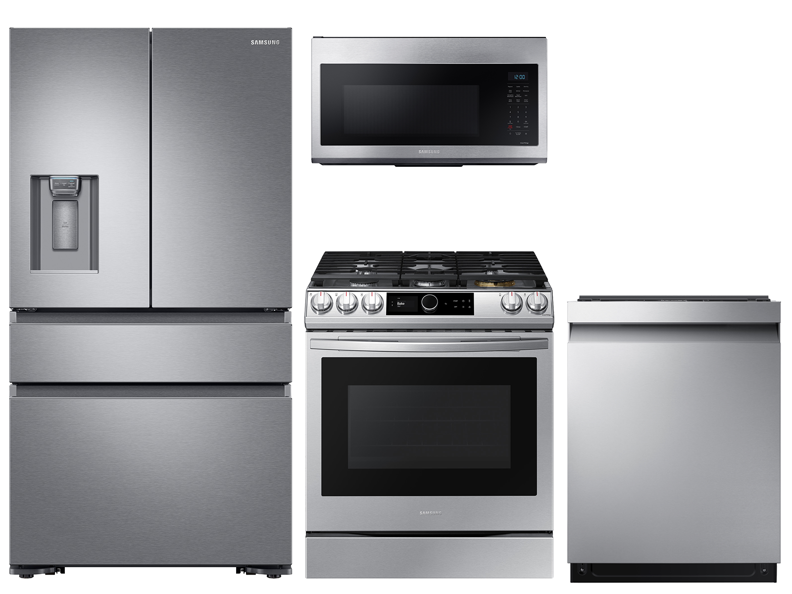 23 cu. ft. counter depth 4-door refrigerator, gas range, microwave and 42 dBA dishwasher package