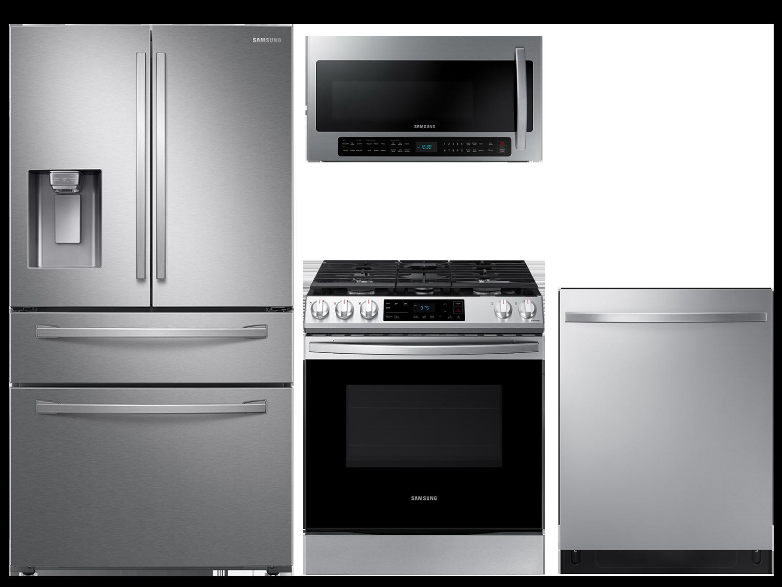 23 cu. ft. counter depth 4-door refrigerator, 6.0 cu. ft. gas range, 2.1 cu. ft. microwave and 48 dBA modern-look dishwasher package