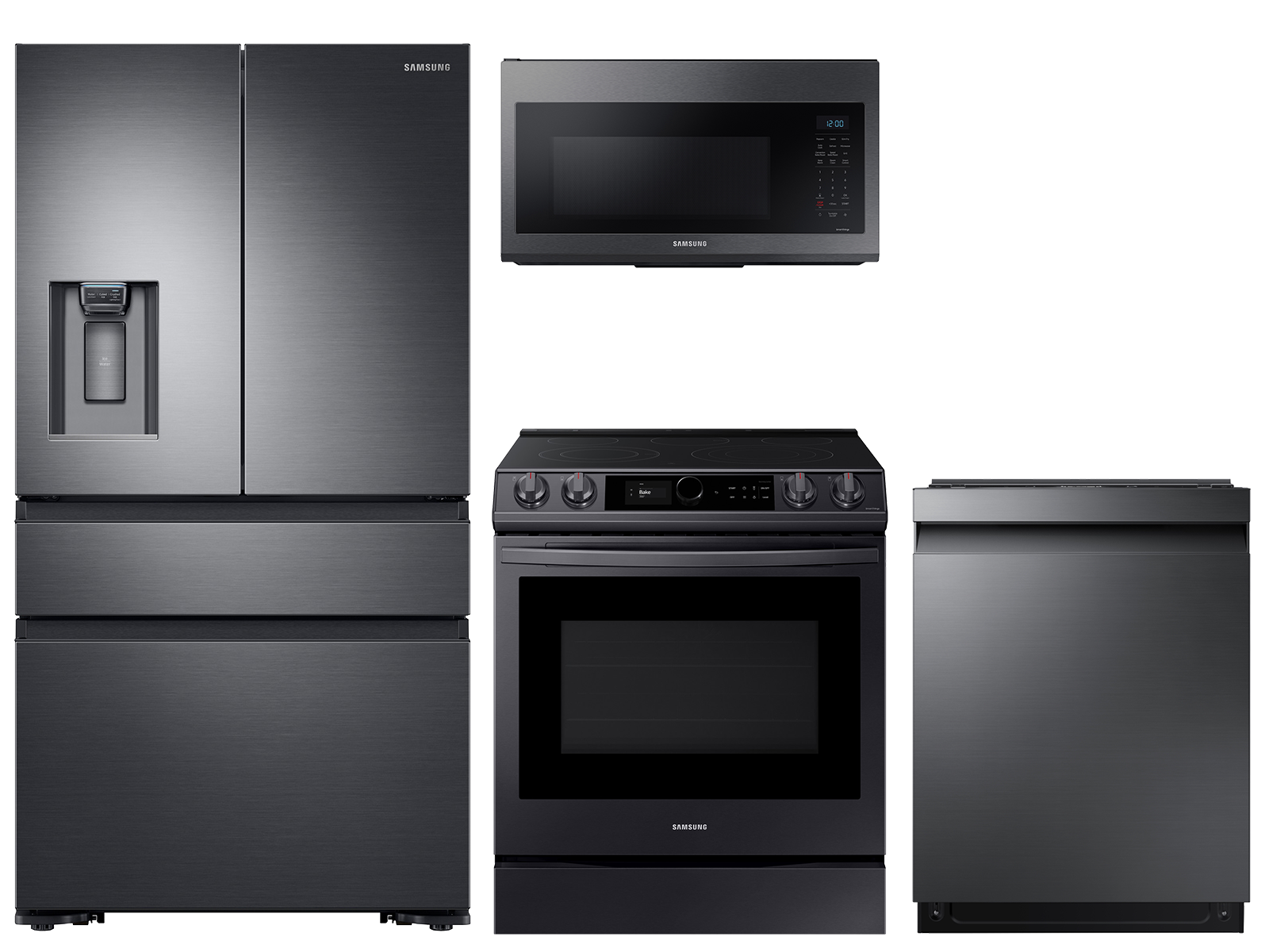 23 cu. ft. counter depth 4-door refrigerator, 6.3 cu. ft. electric range, microwave and 42 dBA dishwasher package