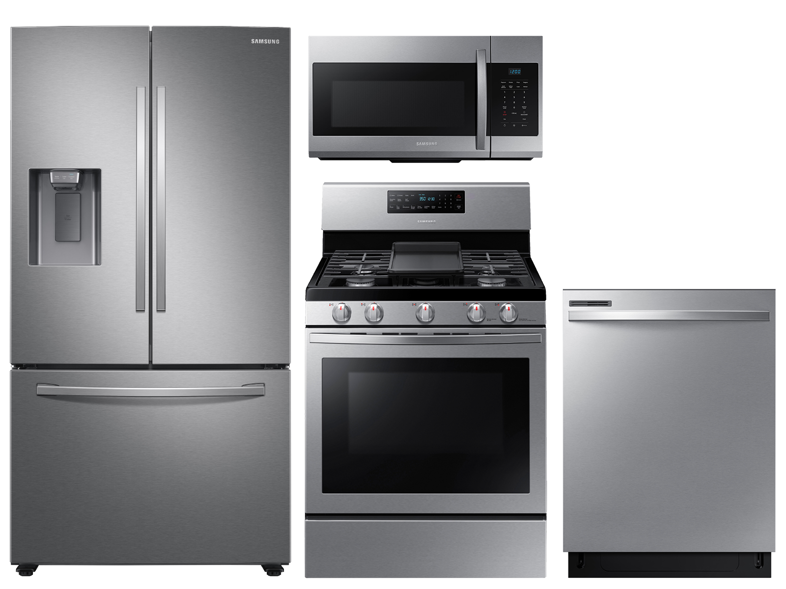 27 cu. ft. 3-door refrigerator, convention gas range, microwave and digital touch control dishwasher package