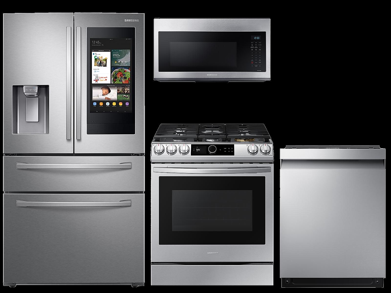 Samsung coupon: Samsung 22 cu. ft. Family HubTM 4-door refrigerator, 6.0 cu. ft. gas range, microwave and 42 dBA dishwasher package(BNDL-1613504226779)