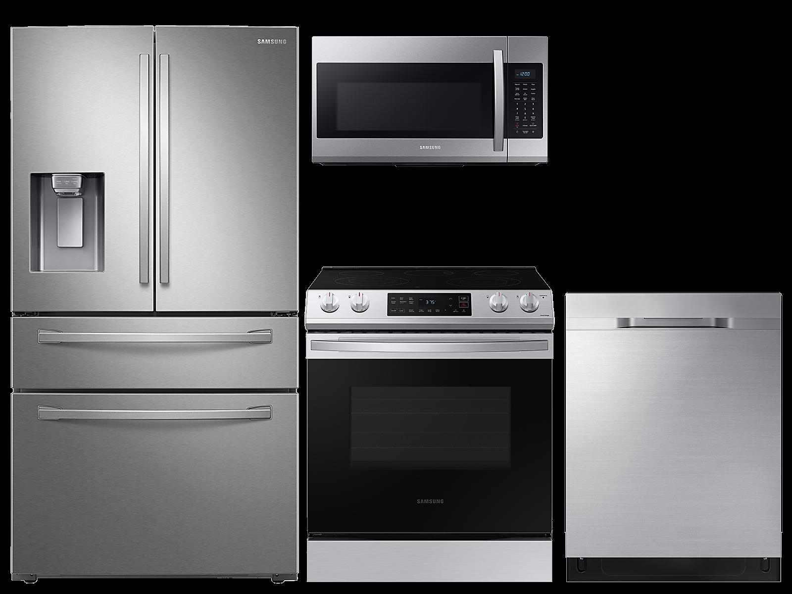 Samsung coupon: Samsung 28 cu. ft. 4-door refrigerator, 6.3 cu. ft. electric range, microwave and 48 dBA dishwasher package(BNDL-1613506659614)