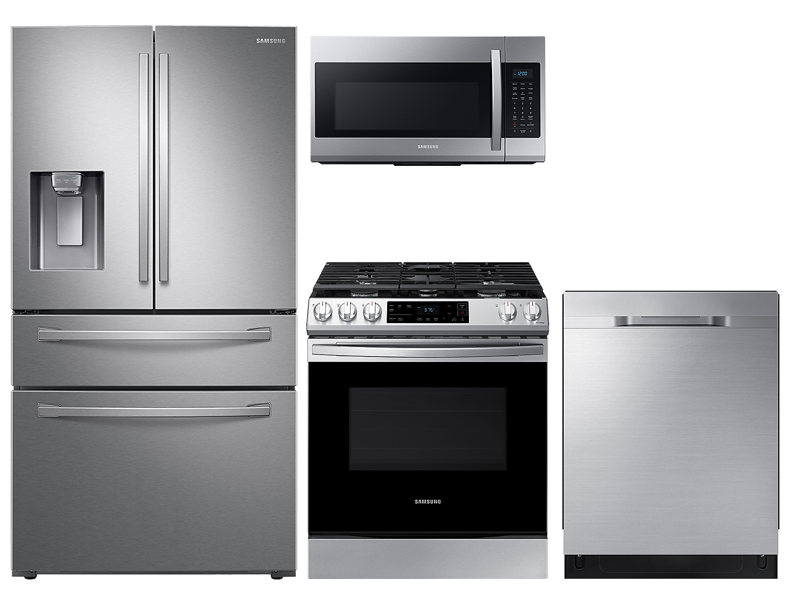 Samsung coupon: Samsung 28 cu. ft. 4-door refrigerator, gas range, microwave and dishwasher package(BNDL-1612902654943)